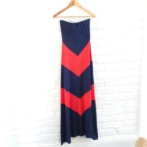 A'Gaci Strapless Navy Orange Maxi Dress Sz. Small